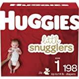 Diapers Size 1 - Huggies Little Snugglers Disposable Baby Diapers, 198ct, One Month Supply