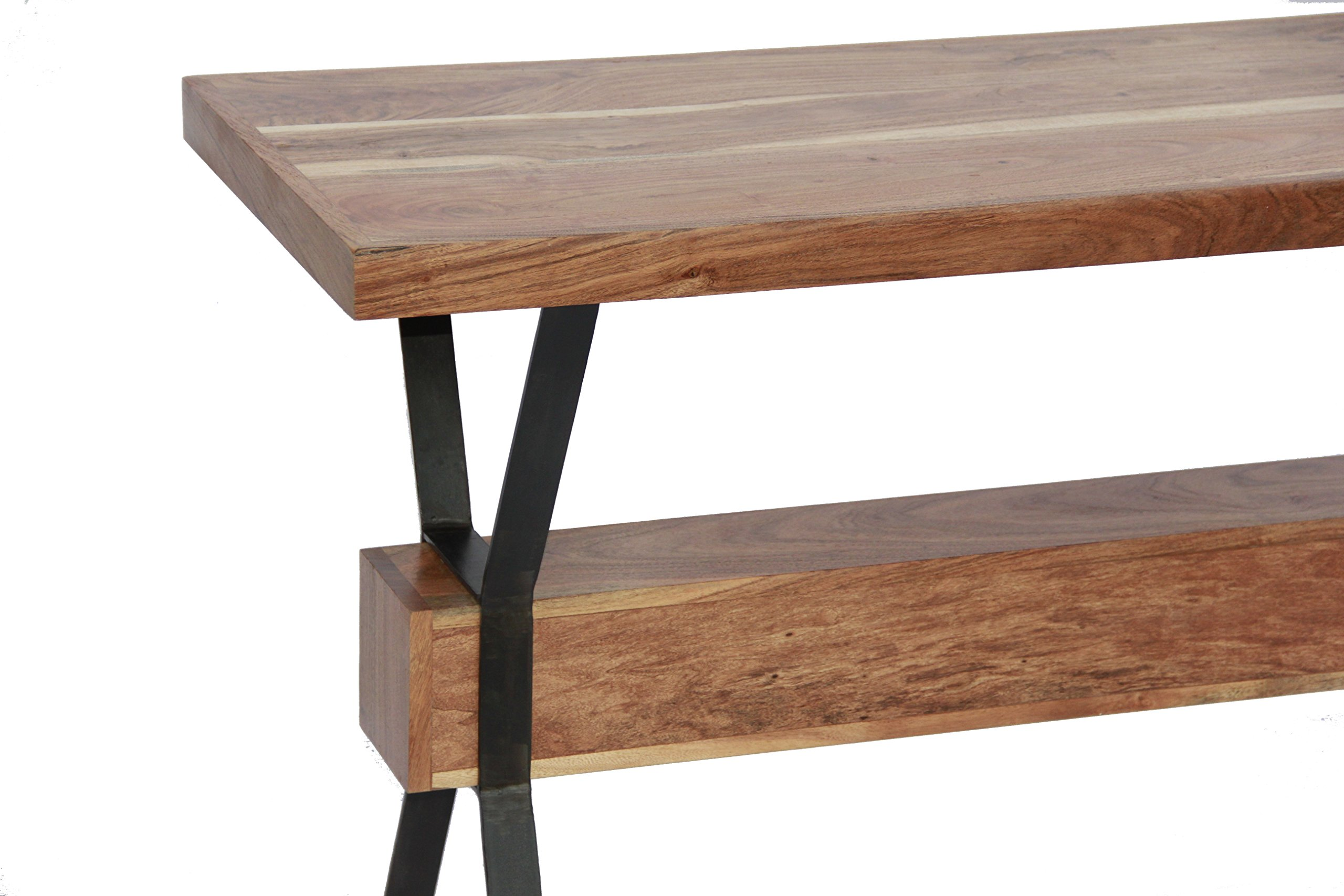 The Urban Port Wooden Top Console Sofa Entry Table, Brown and Black - This table is made up of Acacia nilotica wood and has a strong metal base that adds years to its life. This table gives you a lot of space for displaying vases, framed pictures or other decorative pieces. This table has a weight capacity of 130 pounds. - living-room-furniture, living-room, console-tables - 819Hc0mttrL -