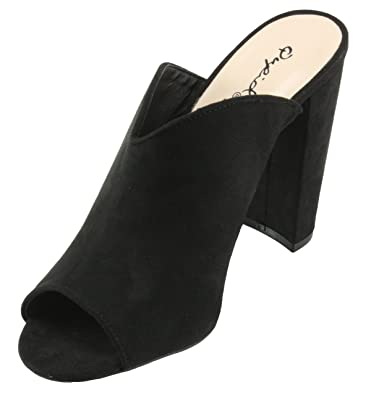 bbaed934e87 Qupid Women s Cashmere-50 Faux Suede Peep Toe Chunky High Heel Mules Shoes  (10