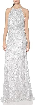 Donna Morgan Women's Tiffany Sequin Halter Blouson Gown