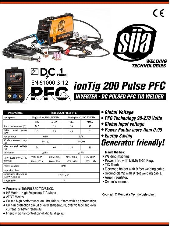 SÜA ionTig 200 Pulse PFC Inverter DC Pulsed TIG Welder - 110/220 ...