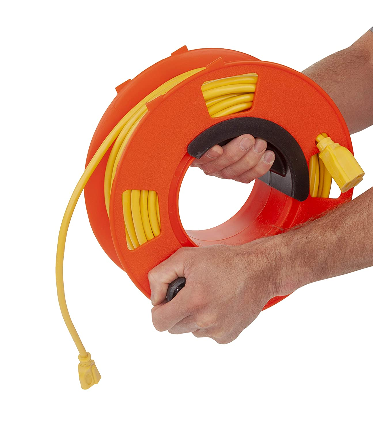 1 Pack, 3-Pack, Orange 100-Feet Bayco KW-110 Cord Storage Reel with Center Spin Handle