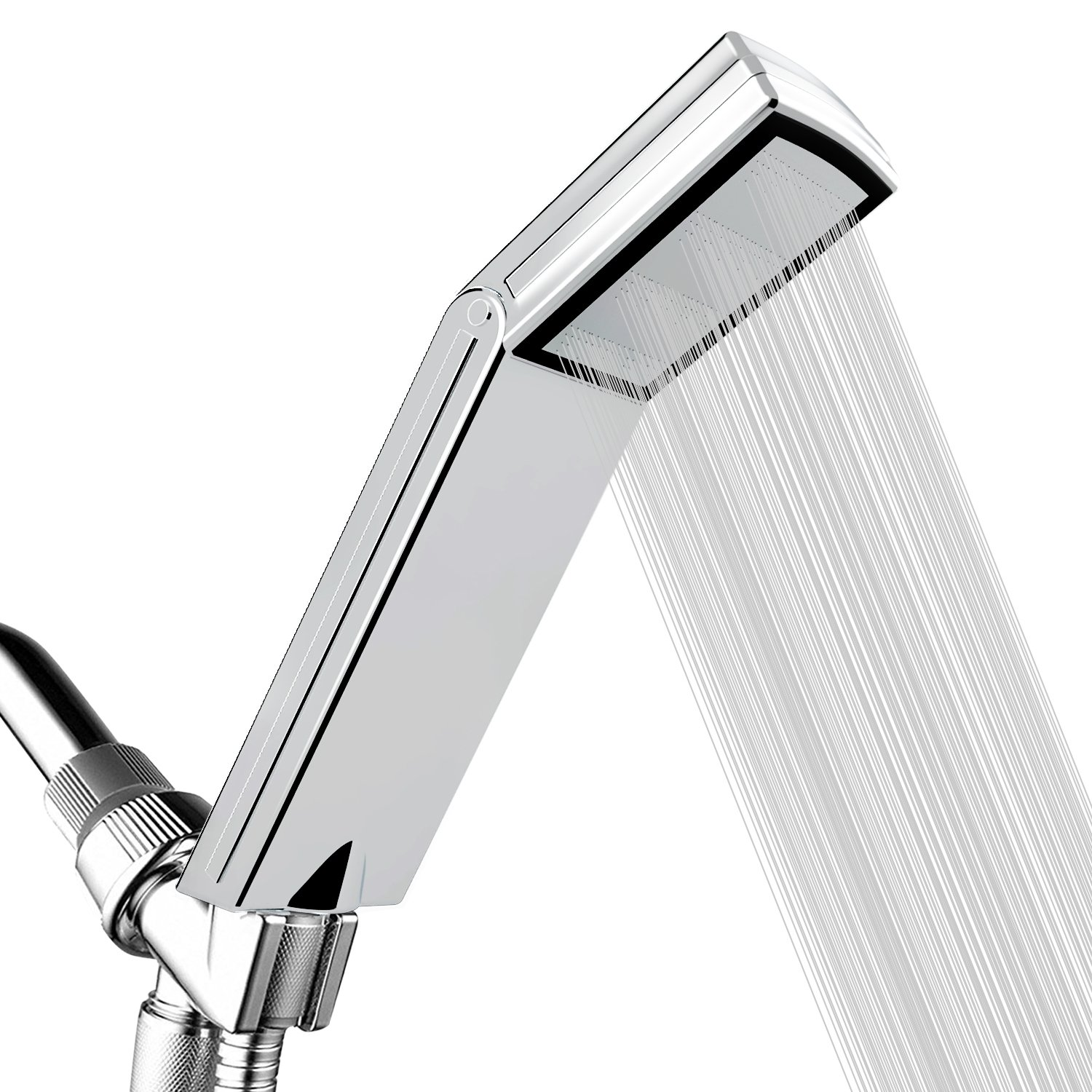 High Pressure Shower Head for Low Water Pressure Supply Pipeline - Luxury Handheld Showerhead with Patented ON/OFF Pause Switch - Bath Booster Spary Bathroom Accessories - Square With Chrome face by jooe