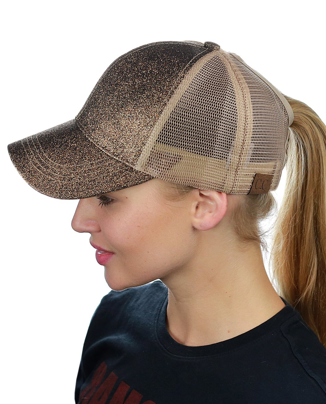 08c256ac3c C.C Ponycap Messy High Bun Ponytail Adjustable Glitter Mesh Trucker Baseball  Cap, Smoky Topaz