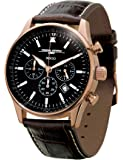 Jorg Gray Men's Non Commemorative Edition Quartz Chronograph Watch JG6500-51NC With Italian Leather Crocodile Pattern Strap and Black Dial