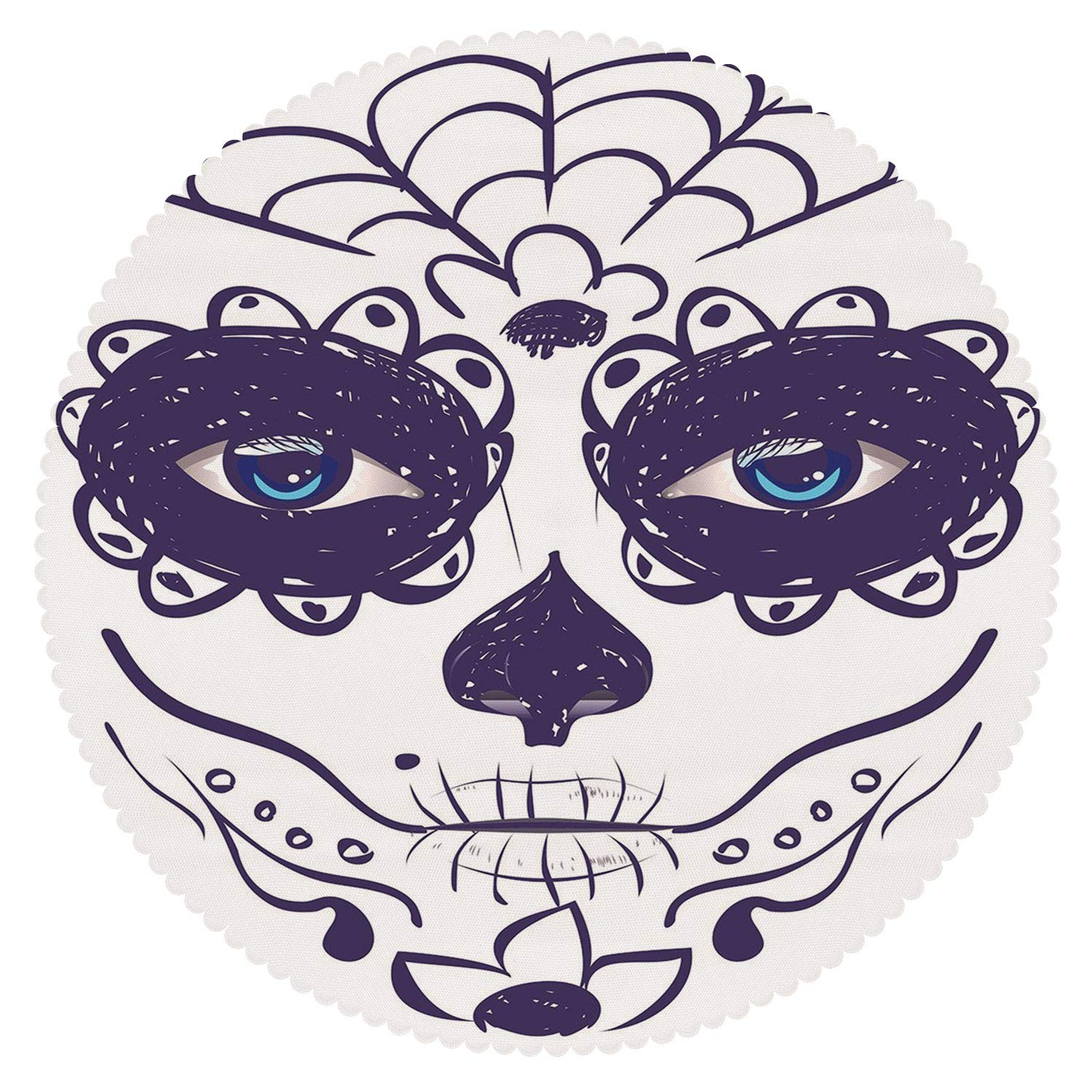 iPrint Round Tablecloth [ Day of The Dead Decor,Dia de Los Muertos Sugar Skull Girl Face with Mask Make up,Black White and Blue ] Fabric Home Decor Set