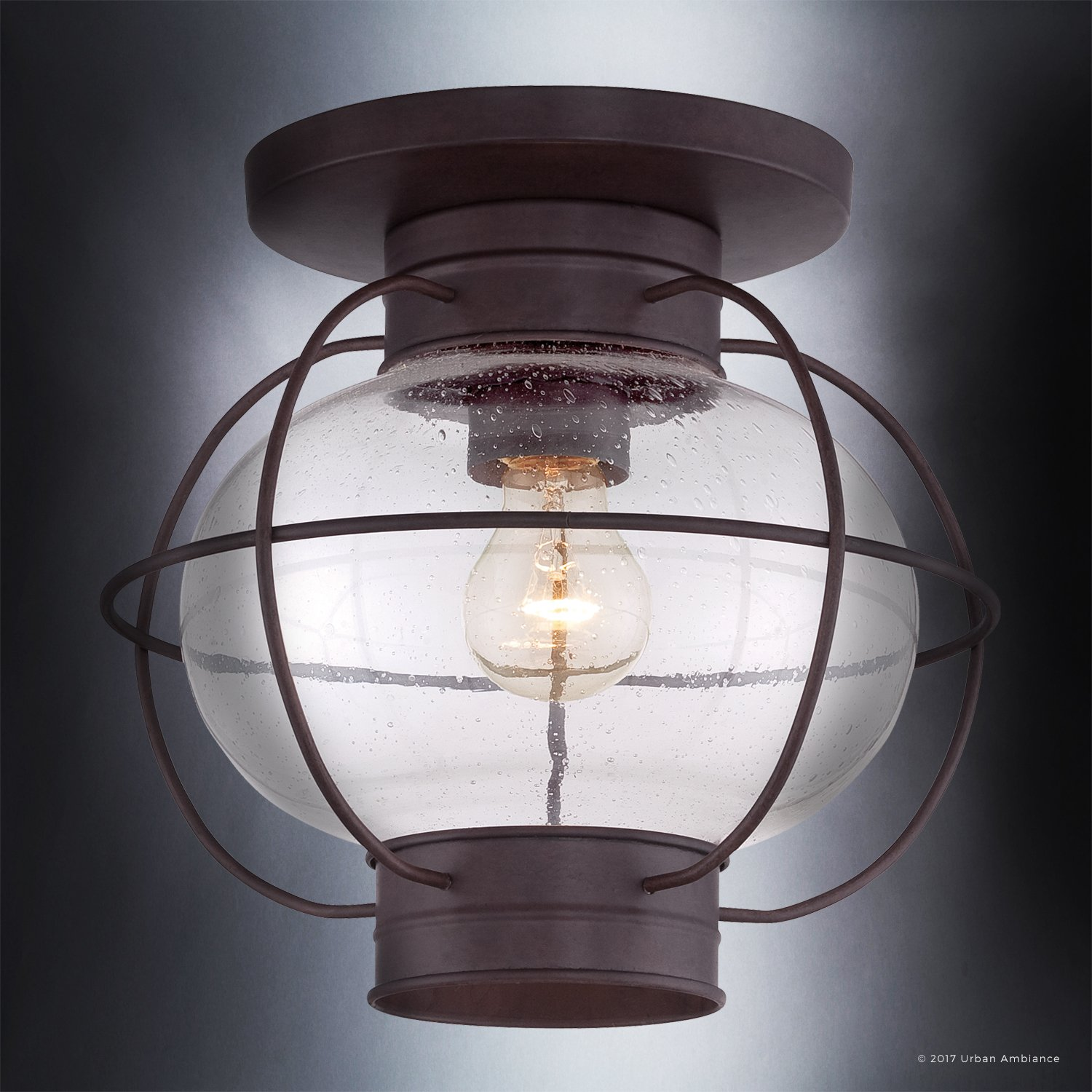 Luxury Nautical Outdoor Ceiling Light, Small Size: 10.5''H x 11.5''W, with Art Deco Style Elements, Cage Design, Bold Tawny Bronze Finish and Seeded Glass, UQL1033 by Urban Ambiance by Urban Ambiance (Image #3)
