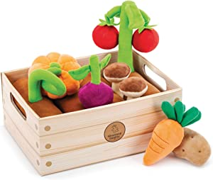 Educational Insights Vegetable Garden 13-Piece Plush Set, Pretend Food, Early-Learning Skills, Ages 2+