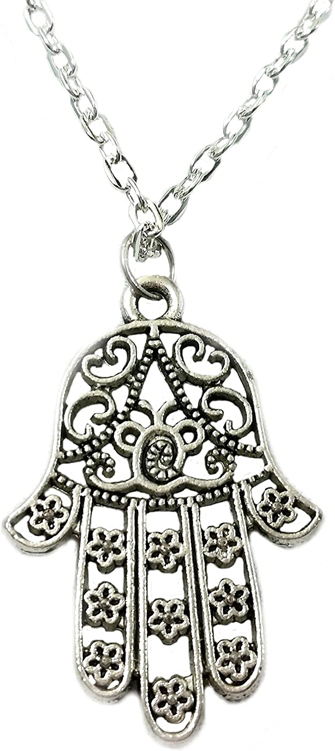 Hamsa Pendant Necklace Sterling Silver Agate Stone Cz Crystals Antique Style