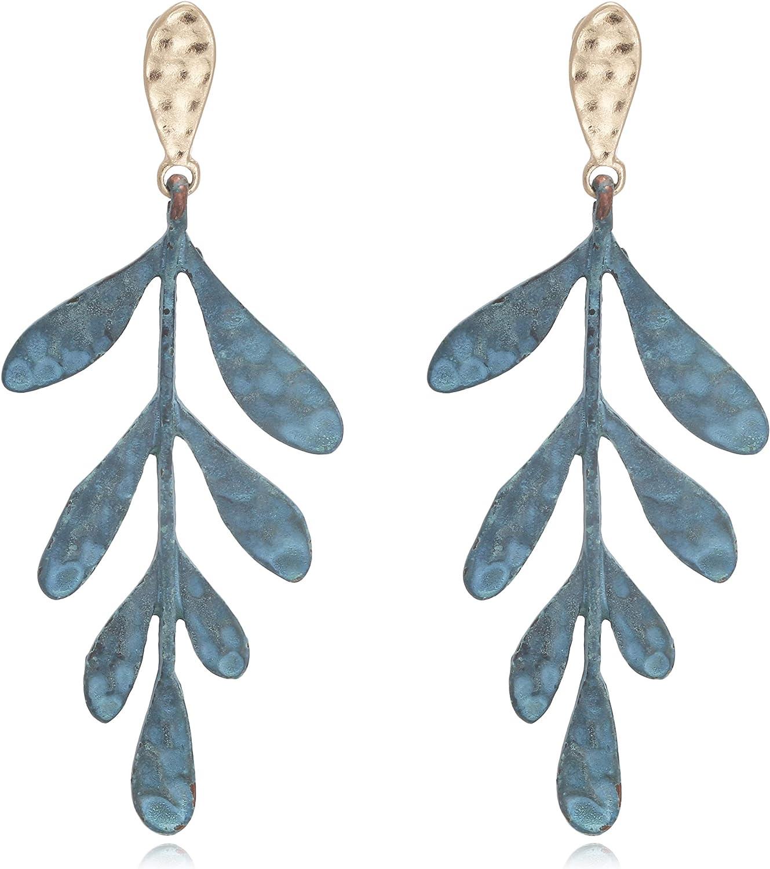 BONALUNA De las Mujeres Vintage Matisse Coral diseño de Las Hojas Pendientes Declaración