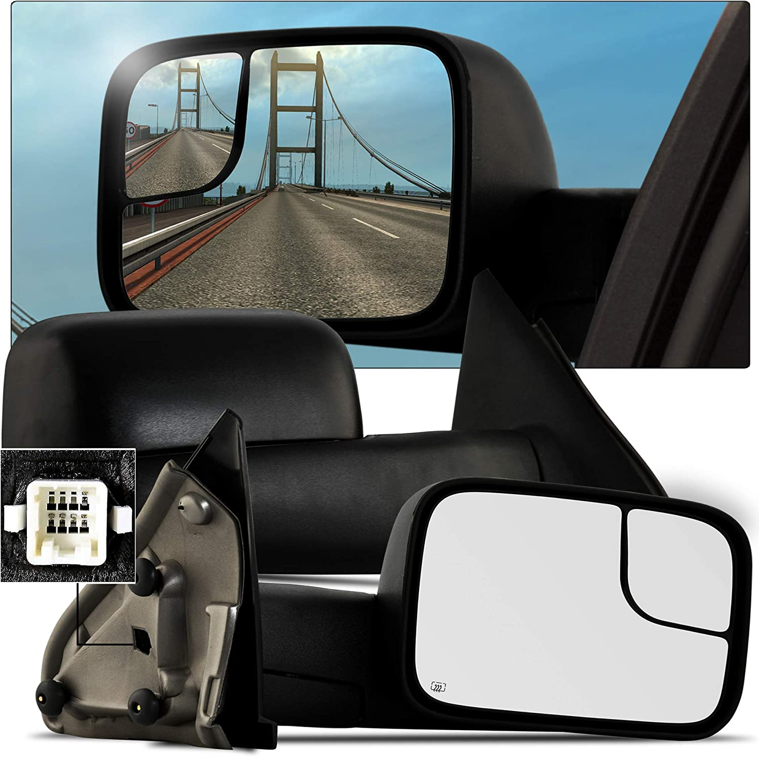 ECCPP Towing Mirrors Pair Set for 2003-2008 Dodge Ram 1500 2500 3500 Truck Power Heated Black Manual Side View Mirrors