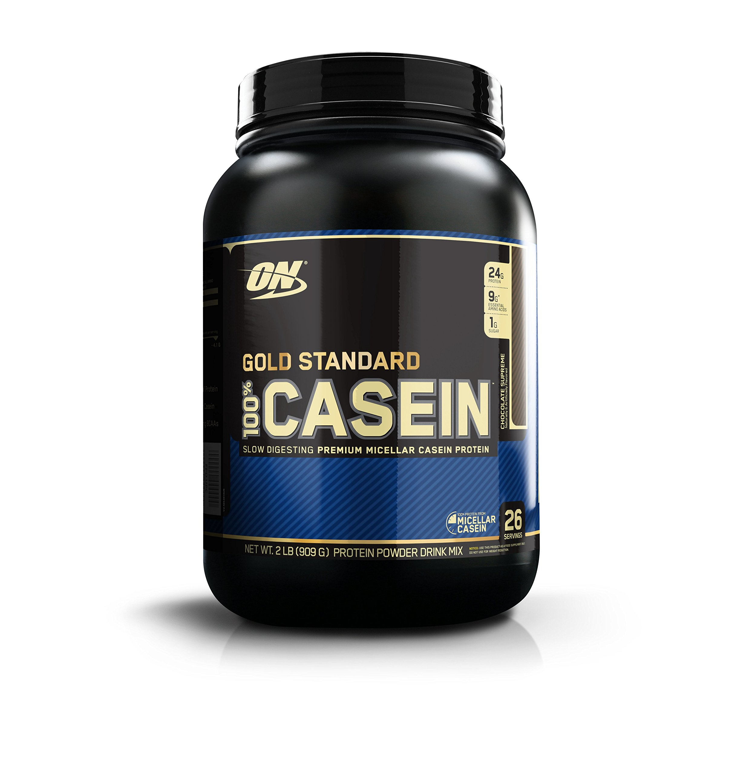 OPTIMUM NUTRITION GOLD STANDARD 100% Micellar Casein Protein Powder, Slow Digesting, Helps Keep You Full, Overnight Muscle Recovery, Chocolate Supreme, 2 Pound