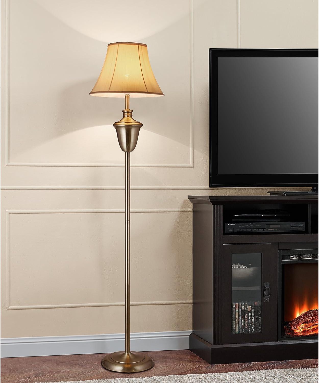 lux.pro] Lámpara de pie LED Elegante (E27) - Ø 35cm - Lámpara de salón Beige/Blanco: Amazon.es: Hogar