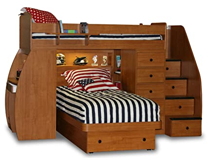 Berg Furniture Sierra Space Saver Twin over Twin Loft Bed with Desk