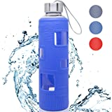 2e0dcb9660 Glass Water Bottle 18 OZ With Silicone Sleeve Leak Proof Lid BPA Free For  To-Go Travel At Home…
