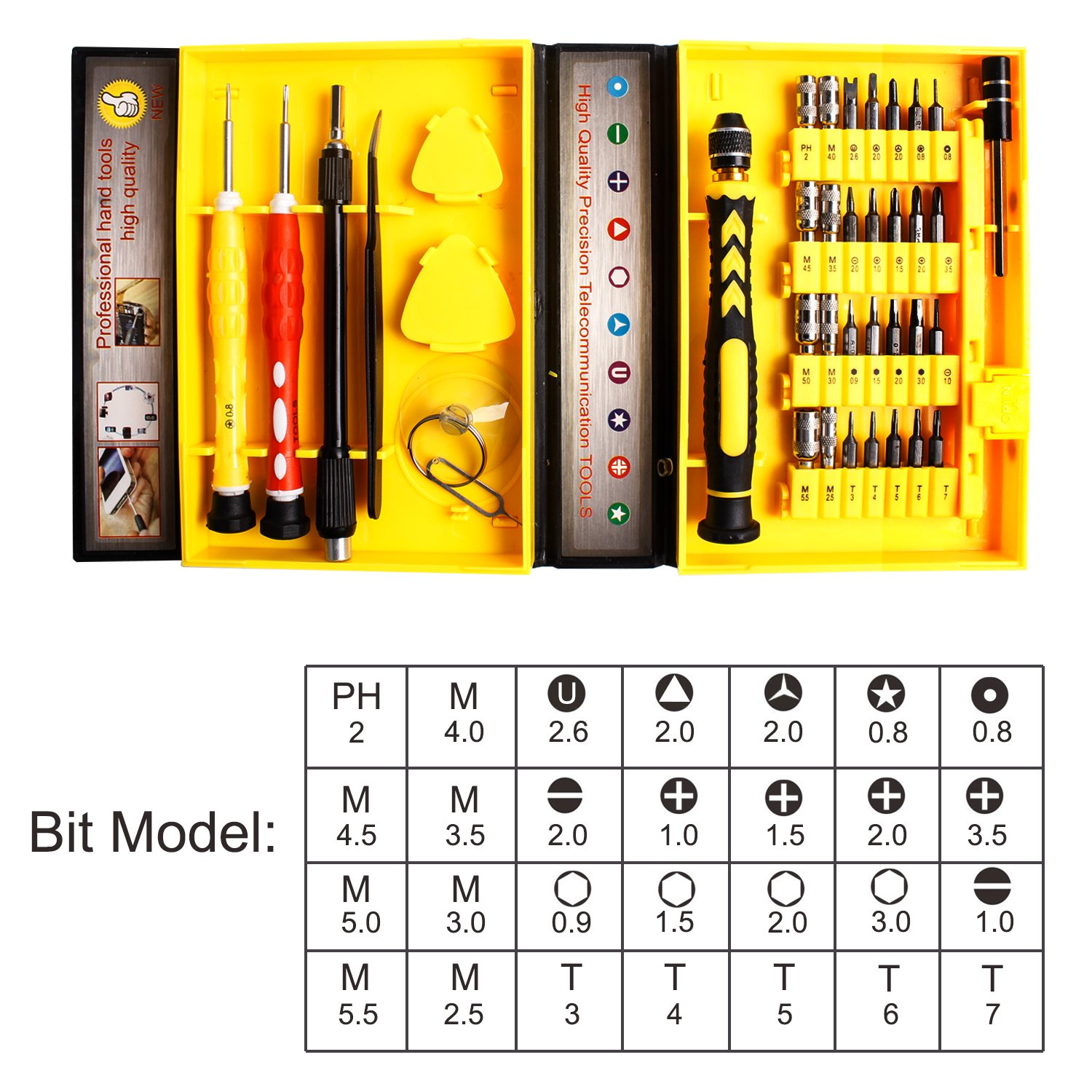Yougai 38-Piece Precision Computer Repair Tool Kit for iPad,iPhone,PC,Watch,Samsung and Other Smartphone Tablet Computer Electronic Devices (Yellow-38 in 1) by Yougai (Image #3)