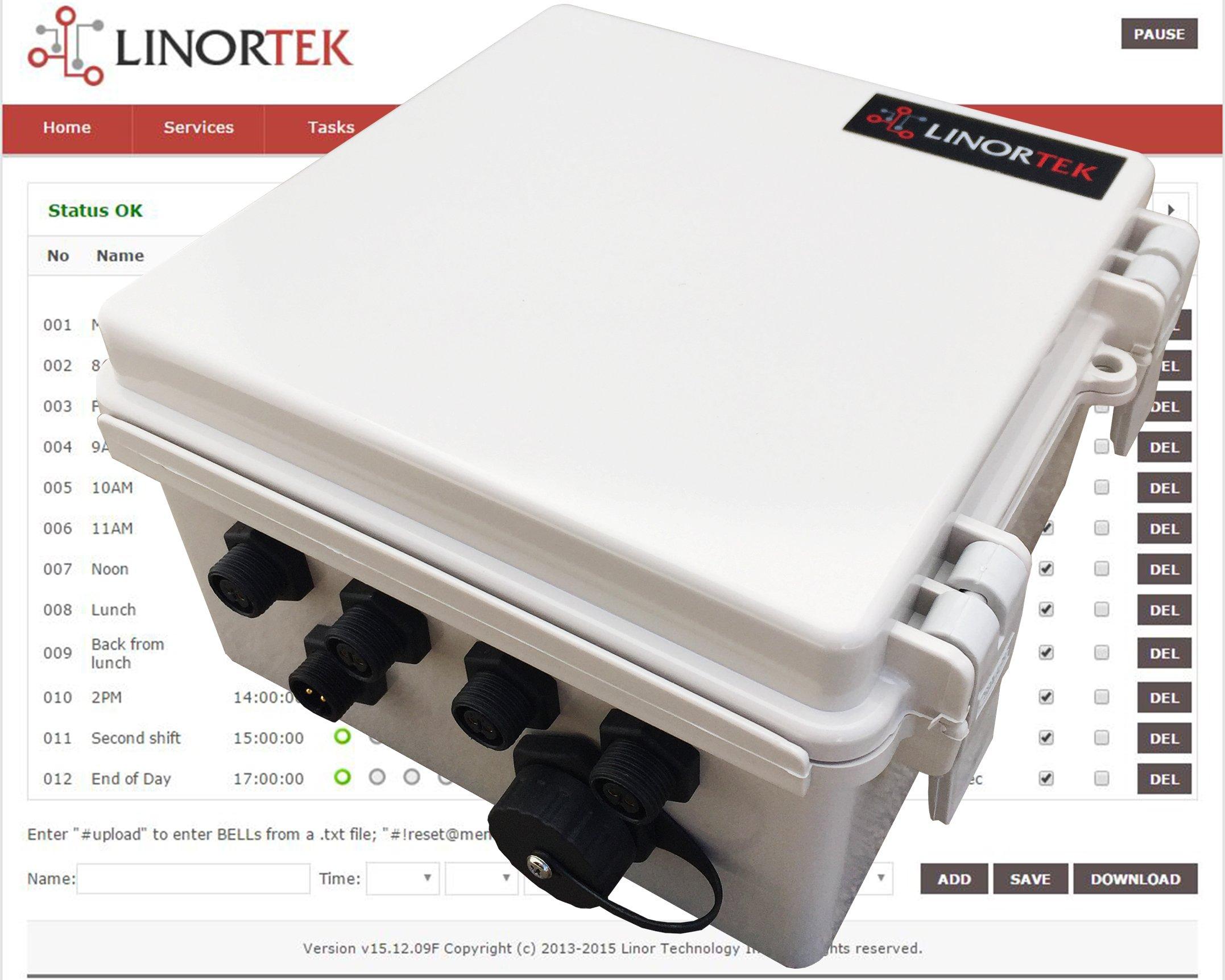 Linortek Netbell-4 TCP/IP Ethernet 4 Zone Bell Ringer Web-based Bell Controller for Alarm Signal Bell/Horn/Buzzer and Other Timed Equipment POE by Linortek (Image #2)