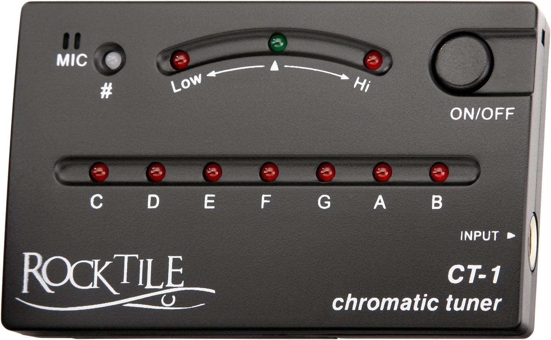Rocktile CT-1 - Afinador crómatico, color negro