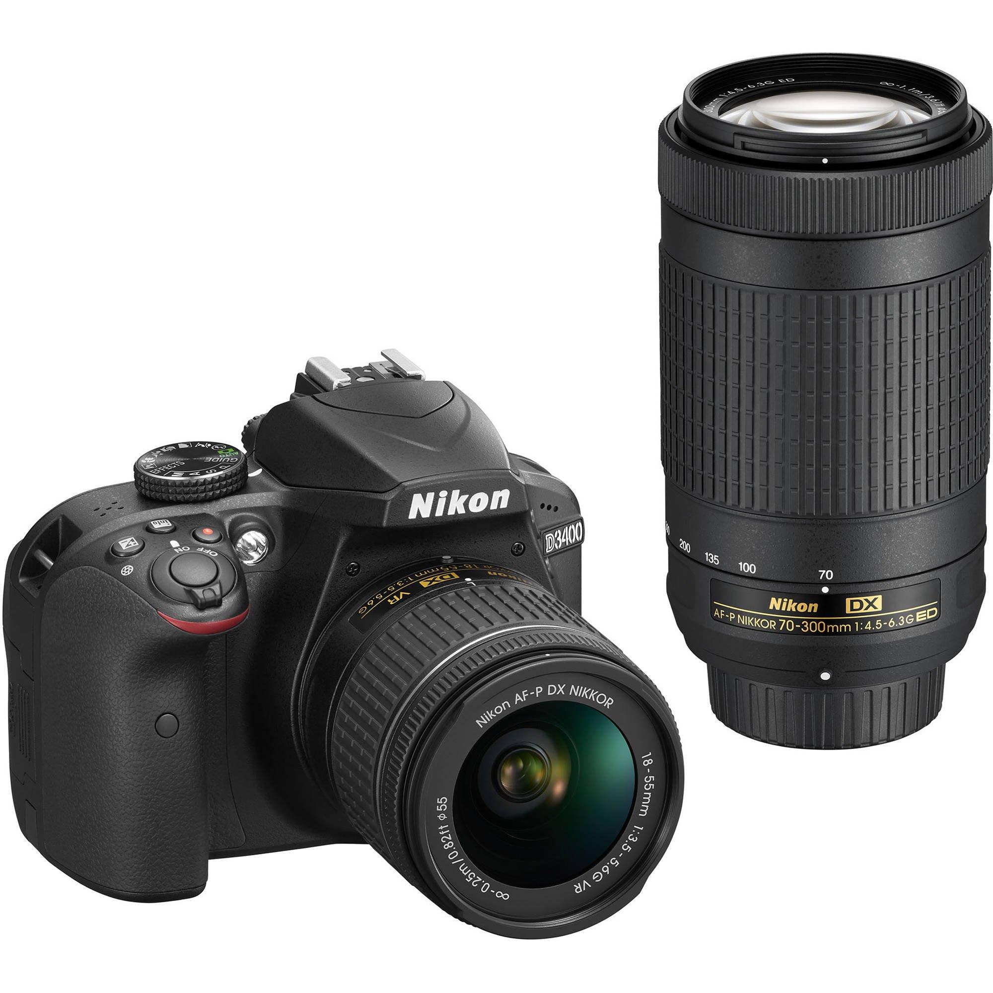 Nikon D3400 DSLR Camera w/ AF-P DX NIKKOR 18-55mm f/3.5-5.6G VR and 70-300mm f/4.5-6.3G ED Lens - Black (Certified Refurbished) by Nikon