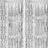 Fecedy 2pcs 3ft x 8.3ft Silver Metallic Tinsel Foil Fringe Curtains Photo Booth Props for Birthday Wedding Engagement…