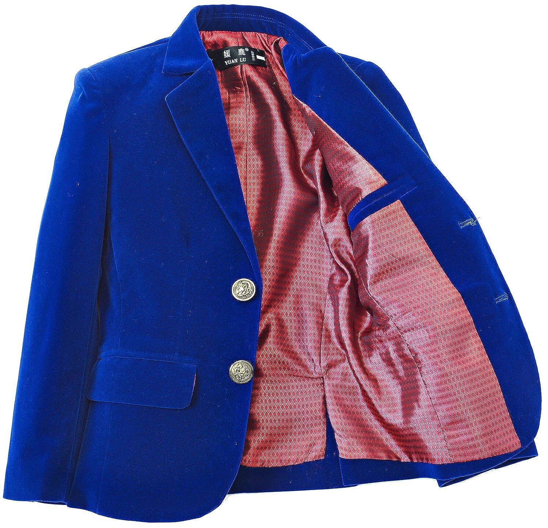 Burgundy Royal Blue Yuanlu Boys Single-Breasted Velvet Blazer,Black