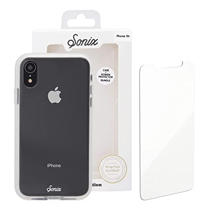 wholesale dealer 725f5 15bec Sonix Clear Cell Phone Case and Tempered Glass Screen Protector [Military  Drop Test Certified] Clear Case and Screen Protector Bundle Pack for Apple  ...