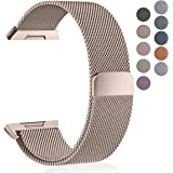 Maledan For Fitbit Ionic Bands, Stainless Steel Milanese Loop Metal Replacement Accessories Bracelet Strap with Magnet Closure for Fitbit Ionic, Large Small, Silver, Black, Gold, Rose Pink,Coffee