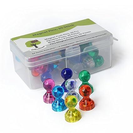 OfficeTree 30 Chinchetas Magnéticas de Colores con Imán Potente - Imanes Neodimio Pizarra Magnética - Ideal para Nevera Oficina Tablones de Anuncios ...
