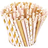 Hiware 200-Pack Biodegradable Paper Straws - 8 Different Pattern Pink Straws/Gold Straws for Party Supplies, Birthday, Wedding, Bridal/Baby Shower Decorations and Celebrations