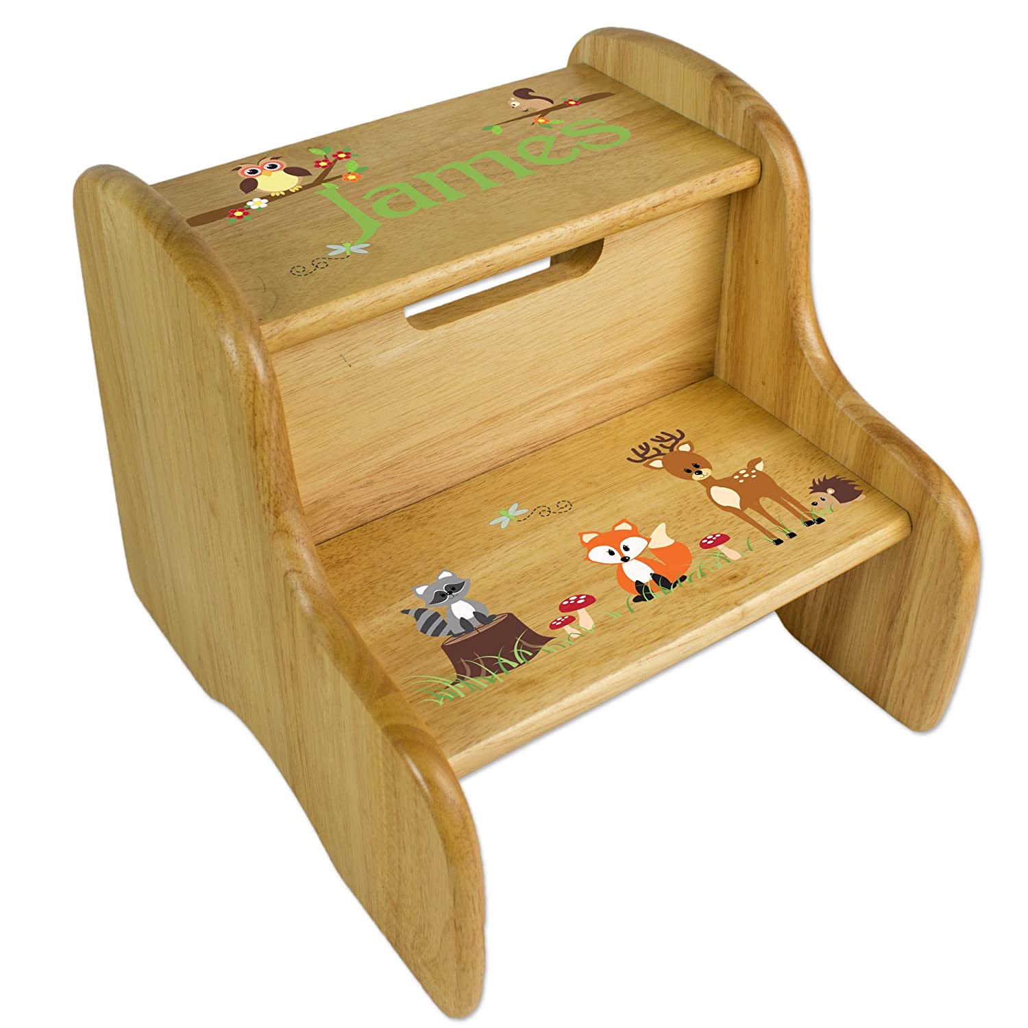Personalized Wooden Woodland Animals Step Stool MyBambino FIXE-NAT-218-PT