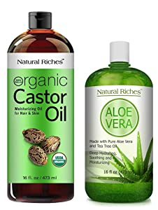 NATURAL RICHES USDA organic Cold pressed Castor oil Heals Dry Skin, and Scalp, with Pure Organic Aloe Vera Gel Lotion for Face & Dry skin and Cold soars.