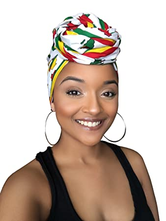 1382f9e7e Amazon.com : White Goddess African Print Headwrap : Beauty