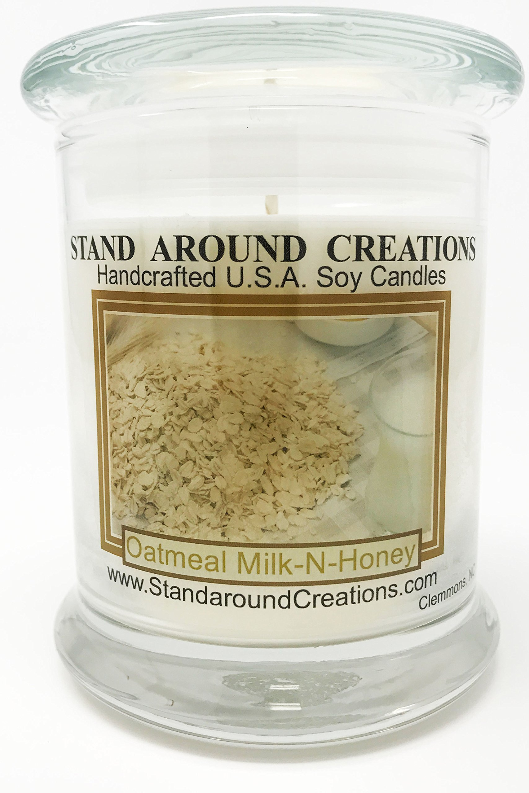 Premium 100% All Natural Soy Candle - 12 oz. Status Jar - Oatmeal Milk & Honey: A rich blend of oatmeal, farm fresh milk and a dollop of honey.