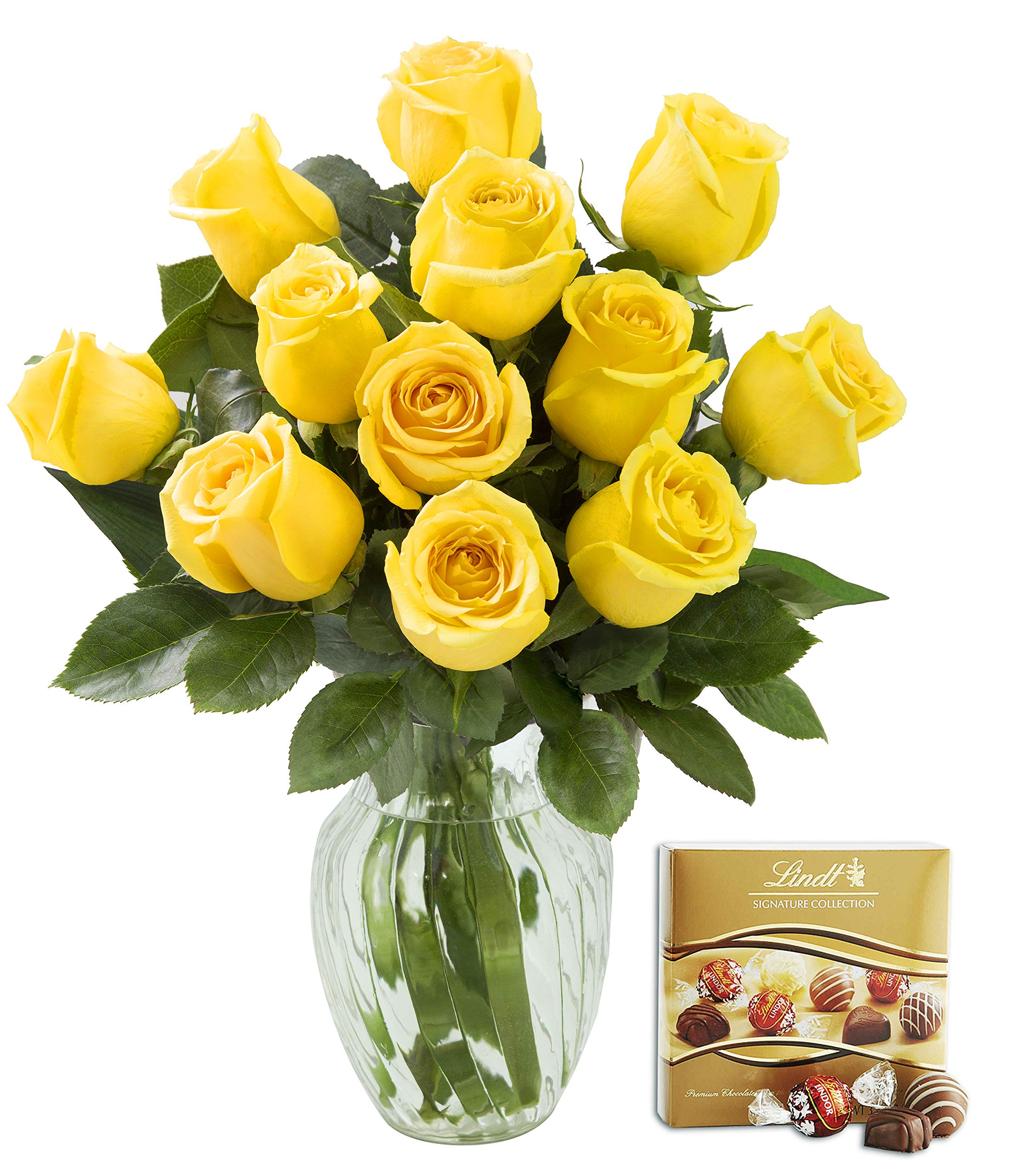 KaBloom Bouquet of 12 Fresh Yellow Roses (Farm-Fresh, Long-Stem) with Vase and One Box of Lindt Chocolates