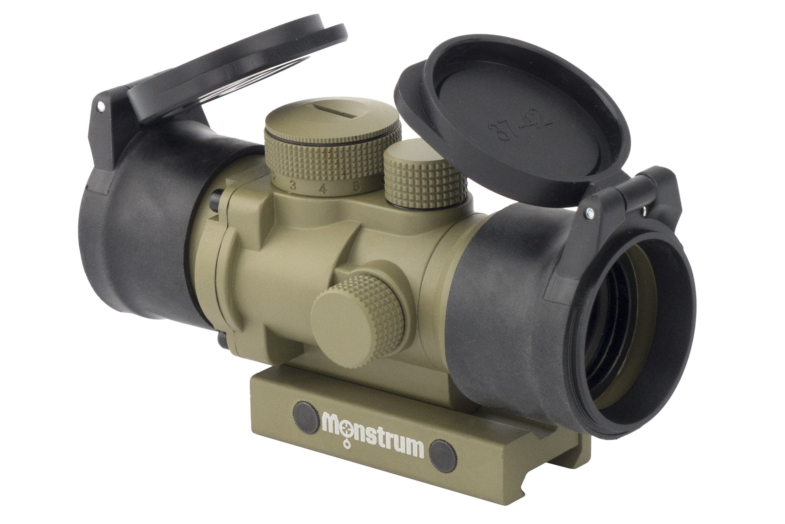Monstrum Tactical S232P 2x Magnification Prism Scope (Flat Dark Earth | with Flip Up Lens Covers)