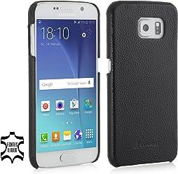 StilGut® Cover Type Case, Cover in Pelle per Samsung Galaxy S6, Nero