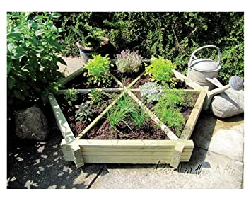 Wooden Raised Bed Herb Wheel made in Solid Wood pressure treated Timber  Planter Grow Your Vegetables Garden Allotment