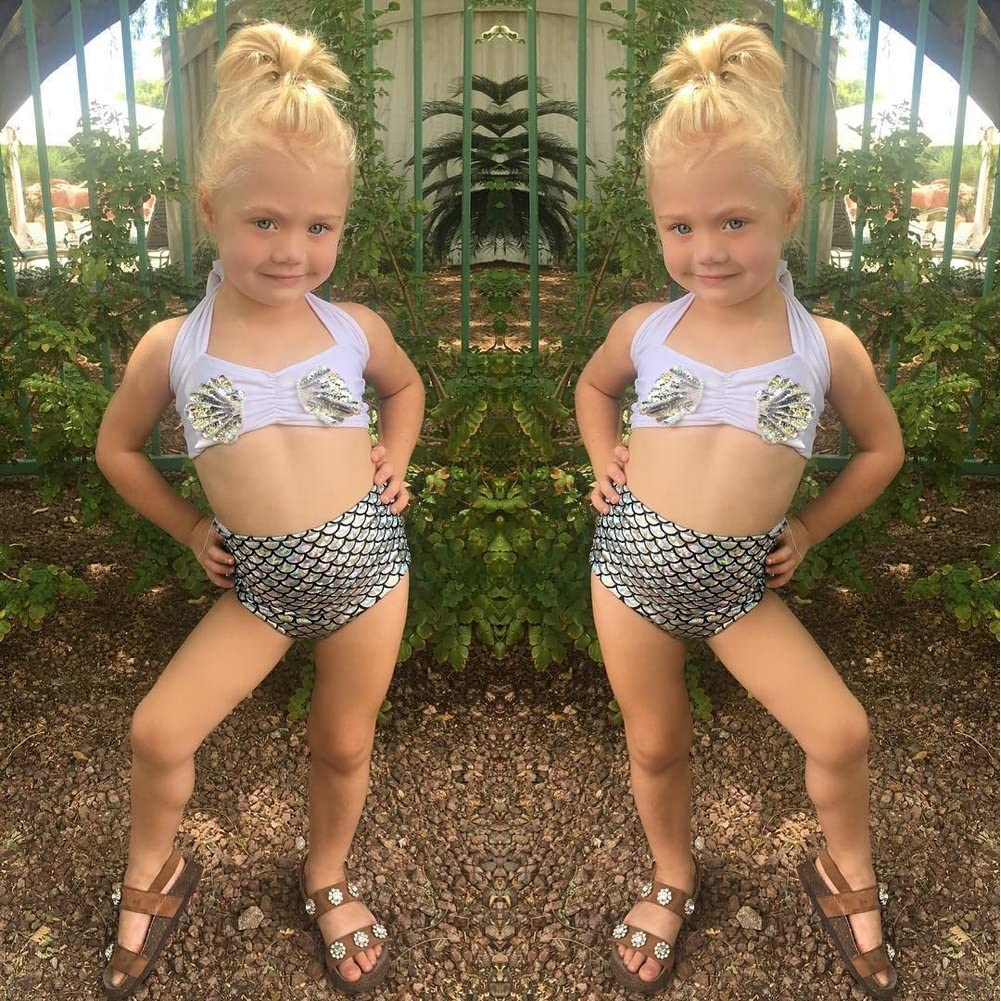 2Pcs Kids Baby Girls Tankini Bikini Set Summer Mermaid Swimwear Beachwear