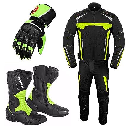 Traje de moto para hombre - Guantes de moto - Botas de moto - Traje de 2 piezas Traje impermeable para motocicleta - Chaqueta de moto con guantes de ...
