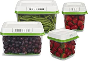 Rubbermaid FreshWorks Produce Saver Food Storage Containers, Set of 4