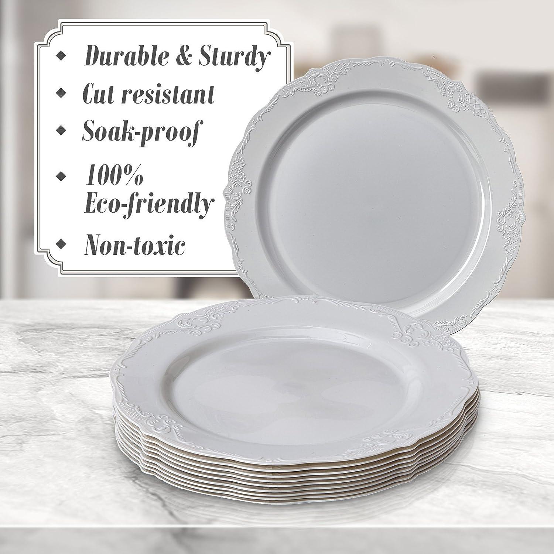 VAJILLA PARA FIESTAS DESECHABLE DE 20 PIEZAS | 20 platos grandes | Platos de plástico resistente | Elegante aspecto de porcelana fina | Para bodas y comidas ...