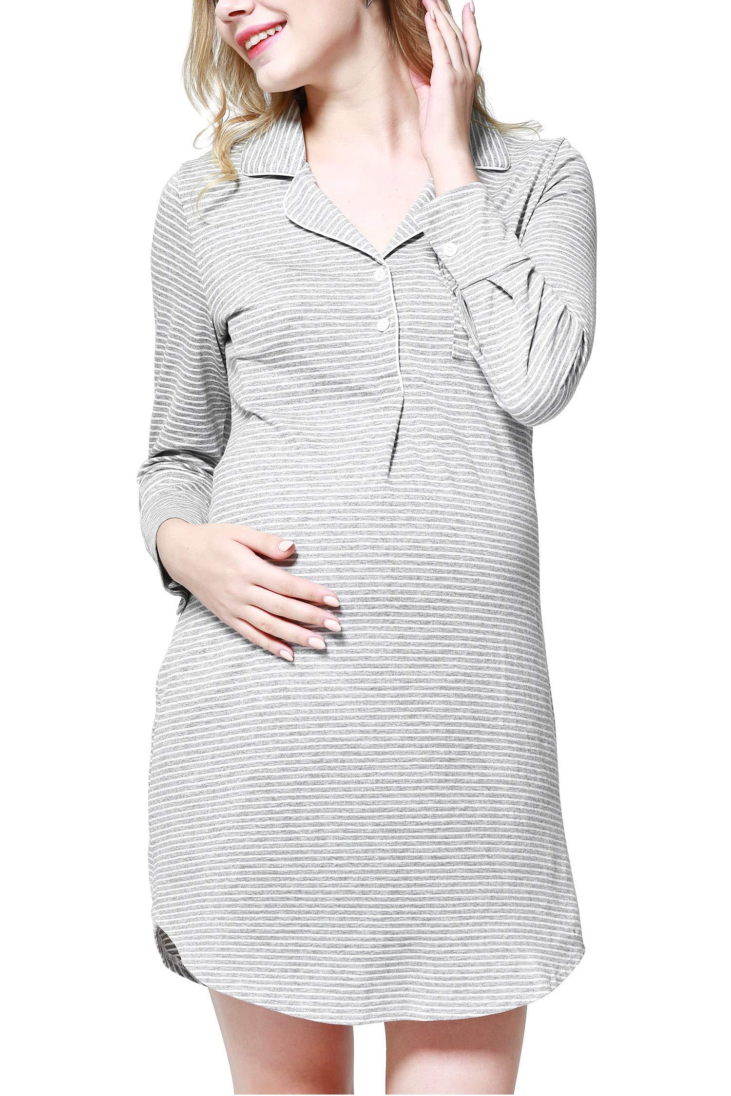 Dance Fairy Molliya Women's Maternity Dress Stripes Nursing Nightgown Breastfeeding,Lapel Collar Pajamas (Gray, M) by Dance Fairy (Image #1)