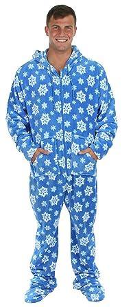SleepytimePjs Men's Fleece Onesie Hooded Footed Pajamas Blue Snowflake – (ST17-M-Blue-Snowflake-SML)