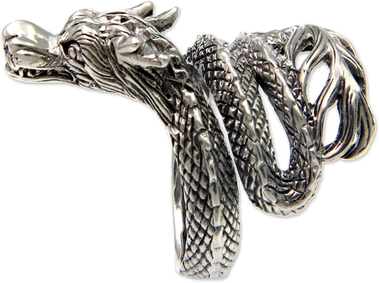 Solid Sterling Silver .925 Bali Wrap Snake Ring size 8.