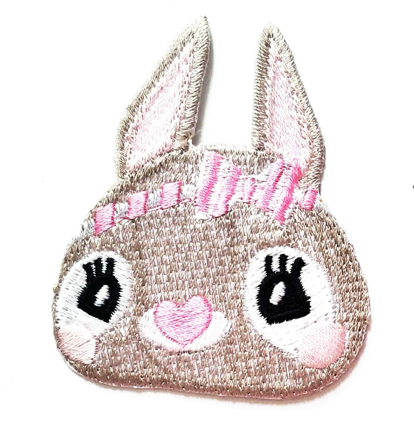 Nipitshop Patches Cute Bunny Rabbit Pink Bow Heart Shaped Nose Animal Cartoon Kids Patch Embroidered Iron On Patch for Clothes Backpacks T-Shirt Jeans Skirt Vests Scarf Hat Bag