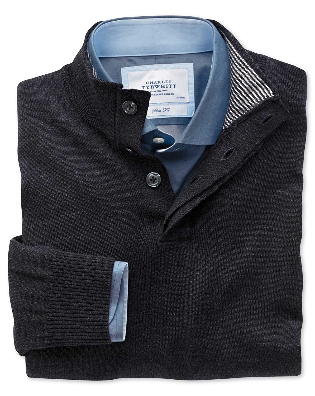 Charles Tyrwhitt Charcoal button neck merino wool jumper