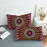 Koongso Boho Mandala Pillow Cases 2 Pieces Floral Paisley Pattern Printed Pillowcases Indian Hippie Themed Square Bedclothes