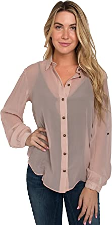 Standards /& Practices Plus Size Modern Womens Lace Collared Button Down Shirt