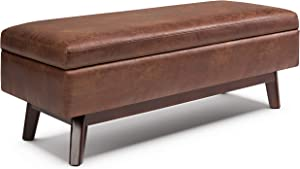 SIMPLIHOME Owen 48 inch Wide Rectangular Coffee Table Lift Top Storage Ottoman, Cocktail Footrest Stool in Upholstered Distressed Saddle Brown Faux Air Leather for the Living Room, Mid Century Modern