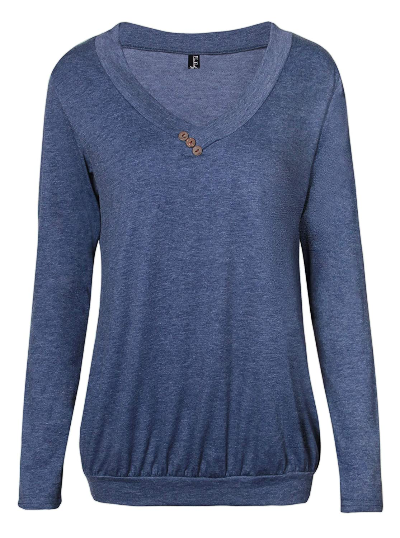 Fleasee Damen Casual Langarm-Shirt mit Kordeln|Basic-Shirt|Lady Basic Langsleeve|Anker Druck Oberteile Flea7128
